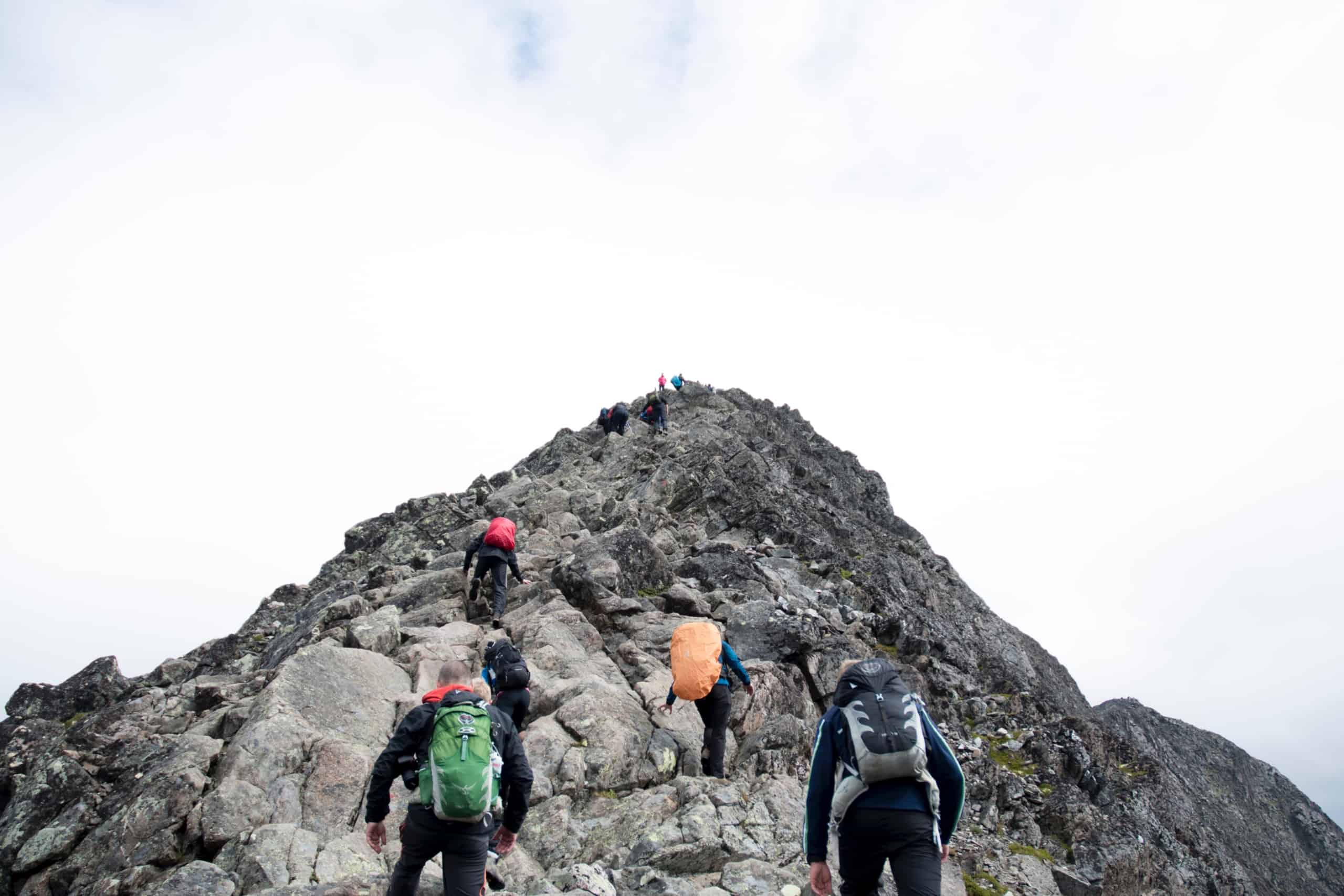 People following a leader up a mountain